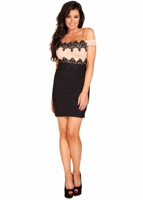 Jessica Wright Maddie Black & Nude Lace Detail Off The Shoulder Dress