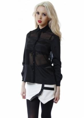 Designer Desirables Black Mesh Panel Long Sleeve Button Up Shirt