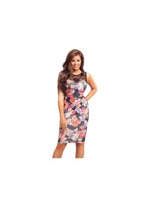Jessica Wright Dahlia Black Multi Coloured Floral Lace Midi Dress