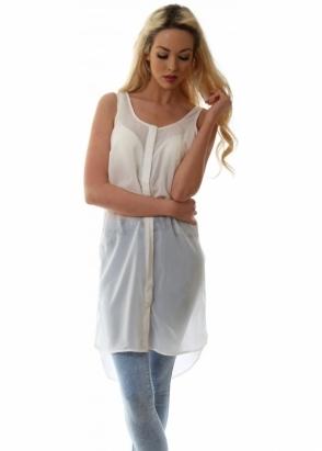 Dr Denim Long Ivory Sheer Chiffon Sleeveless Tunic Shirt