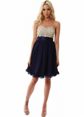 Little Mistress Flower & Sequin Embellished Bustier Prom Dress