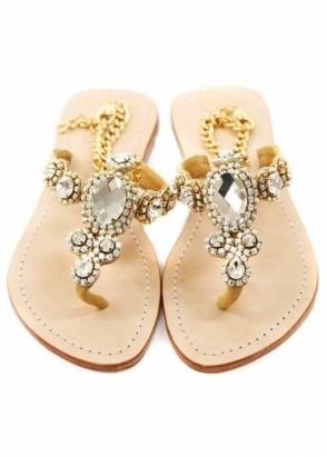 Pasha Corinth Czech Crystal Jewelled Gold Chain Ankle Flat Sandals