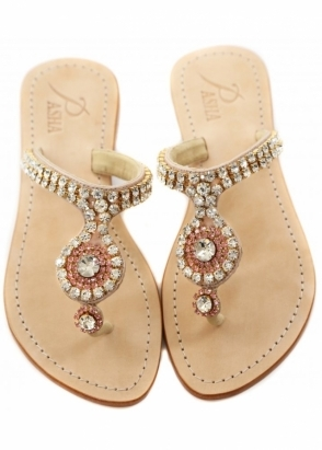 Pasha Paros Rose & Clear Czech Crystal Embellished Flat Sandals