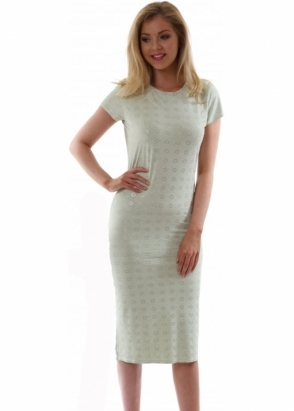 A Postcard From Brighton Jan Midi Dress In Limone Green With Silver Circles