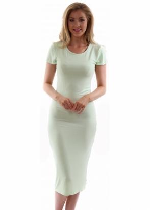 A Postcard From Brighton Jan Limone Green Jersey Short Sleeve Midi Dress