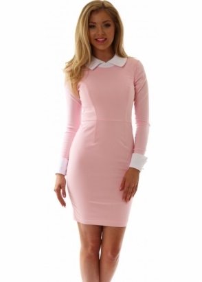Tempest Abbey Dress In Baby Pink With White Collar & Cuffs