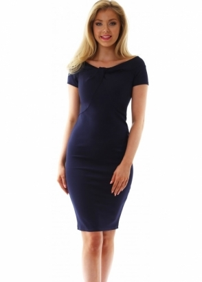 Goddess London Navy Blue Knot Detail Fitted Dress