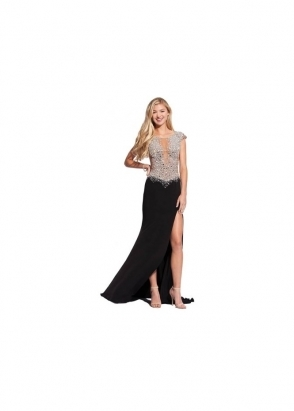 Jovani 91032 Sheer Crystal Bodice Black Evening Gown
