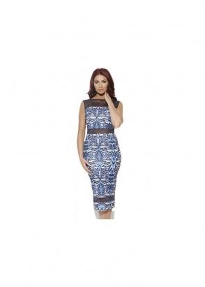 Amy Childs Barclay Dress Sleeveless Geometric Mesh Panel Printed Midi
