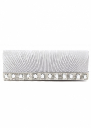 Designer Desirables Shayla Diamante Silver Grey Ribbed Satin Clutch With Chain
