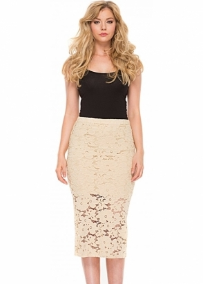 A Postcard From Brighton Leila Pencil Skirt In Morning Gold Lace