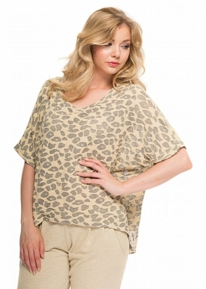 A Postcard From Brighton Belinda Burn Out Cat Melange Short Sleeved Top In Morning Gold