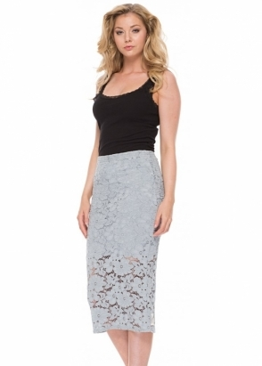 A Postcard From Brighton Leila Lace Pencil Skirt In Piano Grey
