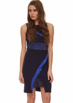 Tempest Isabelle Dress Navy Blue With Asymmetric Stripe & Lace Inserts