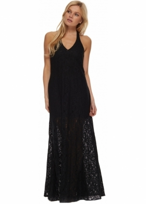 Jarlo Kate Black Lace Halter Neck Maxi Dress