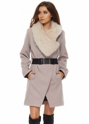 Monton Mink Faux Fur Oversized Collar Belted Coat