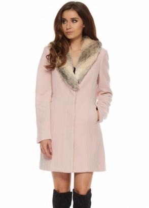 Bardot Veronika Pink Coat With Detachable Faux Fur Collar