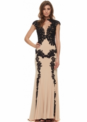 Jovani 89902 Nude & Black Lace Cap Sleeve Evening Gown
