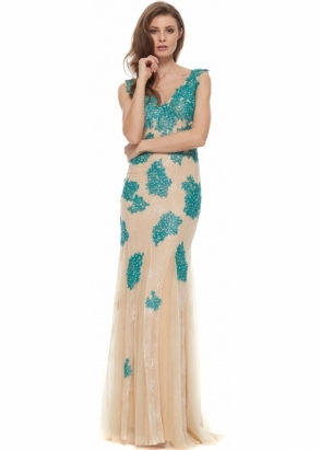 Jovani Dress 90164 Teal Beaded Cafe Tulle Mermaid Ball Gown
