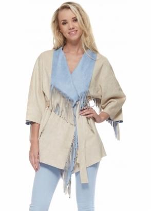 Designer Desirables Blue & Beige Faux Suede Belted Fringed Jacket