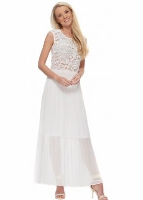 Designer Desirables White Maxi Dress With Lace Bodice And Pleated Chiffon Skirt