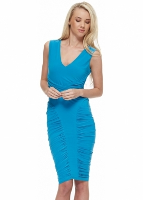 Goddess London Turquoise Silky Jersey Bodycon Midi Dress