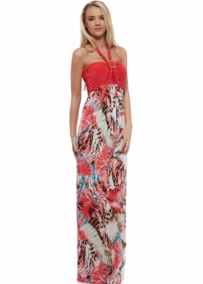Honor Gold Mandy Dress With Coral Bandeau Top & Multicolour Skirt