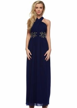 Little Mistress Navy Blue Wrap Neck Leaf Embellished Maxi Dress