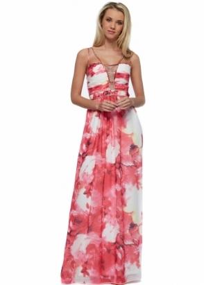 Little Mistress Pink Floral Embellished Strap Maxi Dress
