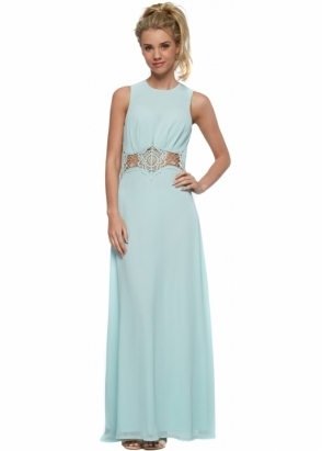 Jarlo Nolita Mint Green Chiffon Maxi Dress With Lace Insert