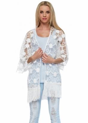 Designer Desirables White Flower Embroidered Sheer Fringed Kimono Jacket