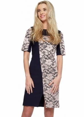 Tempest Maggie Navy Blue Lace Overlay Asymmetric Pencil Dress