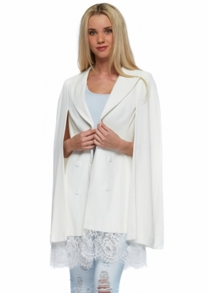 Asilio Too Much Talk Coat Dress Cape Style With Lace Hem