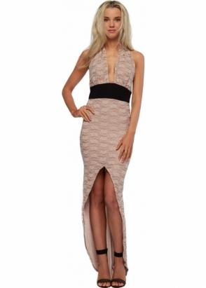 Honor Gold Beige Lace Hi Low Maxi Dress With Cummerbund Waist