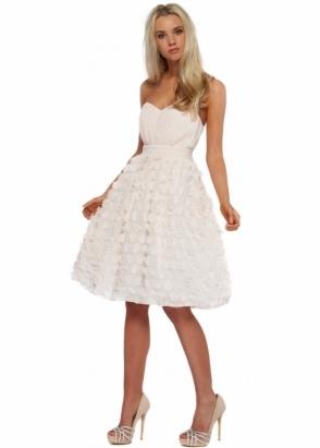 Little Mistress Nude Floral Applique Petals Bustier Prom Dress
