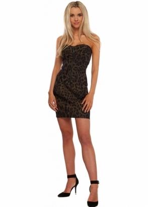 Forever Unique Leopard Print Panelled Zip Up Millie Mini Dress