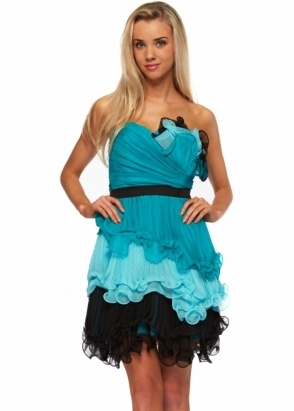 Forever Unique Dress Amber Strapless Pleated Ruffle Bustier Dress