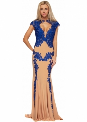 Jovani 89902 Nude & Royal Blue Lace Cap Sleeve Evening Gown