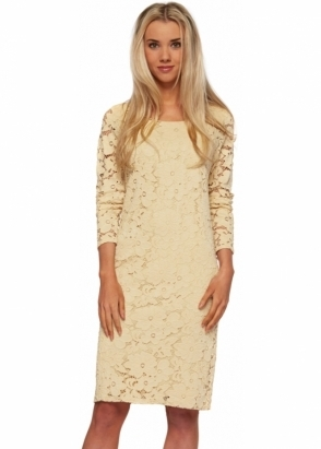 A Postcard From Brighton Lush Midi Dress In Morning Gold Lace