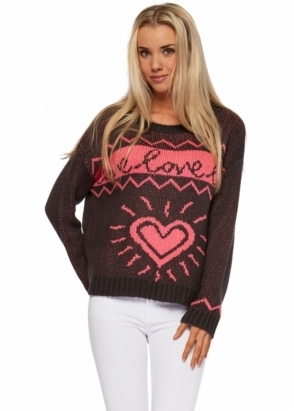 A Postcard From Brighton WWUL Pink Love Heart Charcoal Cropped Jumper