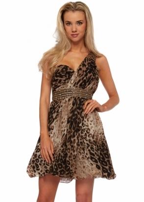 Little Mistress One Shoulder Sequinned Leopard Print Prom Dress