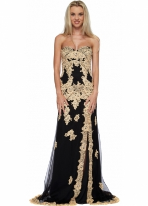 Jovani Strapless Black Tulle With Nude Lace Evening Dress