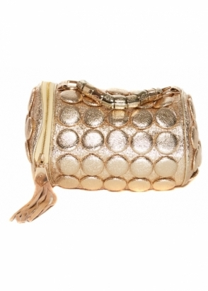 Designer Desirables Gold Buttons Bowling Bag With Chain Top Handle