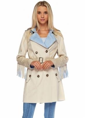 Designer Desirables Blue & Beige Faux Suede Fringed Back Trench Coat