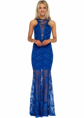 Honor Gold Lacey Blue Lace Maxi Dress