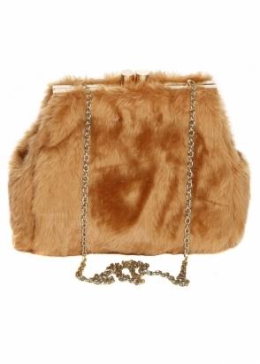 Designer Desirables Caramel Soft Fluffy Faux Fur Tote Bag