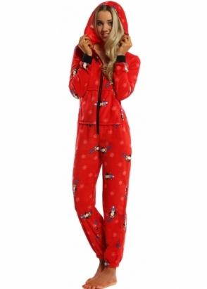 Designer Desirables Red Soft Fleece Penguin Pyjama Onesie