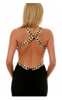 Ball Gown - Gold Diamonte Chain Cut Out Goddess Style 8512