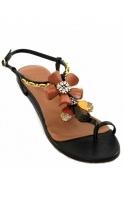 Sandals Toe Post Jewelled Flats