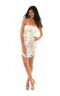 Dress Mesh Adorned With Feathers Sequins E22096